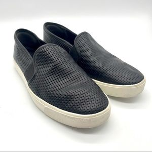 Vince Black Blair Perforated Slip On Loafers 8.5 M
